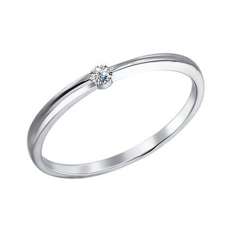 Изящное, тонкое  кольцо из серебра с фианитом