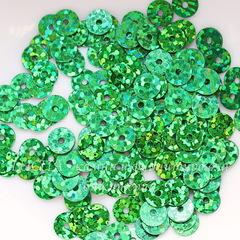 Пайетки зеленые с голограммой, 6 мм, 10 грамм