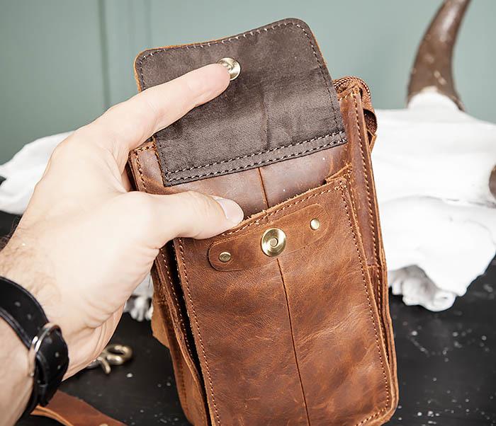 BAG492-2 Кожаная мужская сумка на ремень («Crazy Horse») фото 06