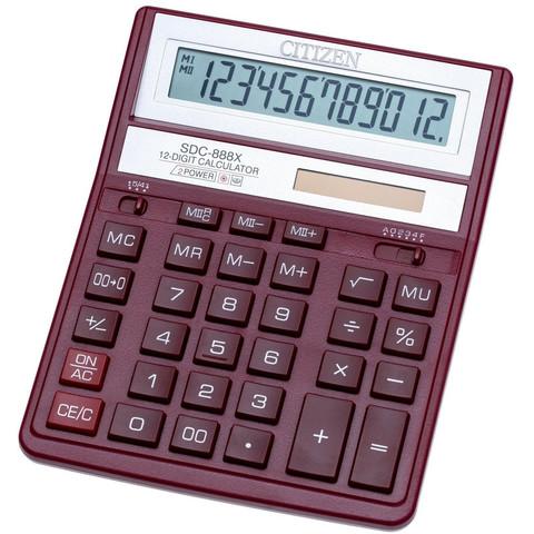Калькулятор настольный CITIZEN бух. SDC-888XRD,12 разр, бордовый