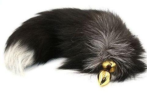 Золотистая алюминиевая анальная пробка с чёрно-белым хвостом из натурального меха