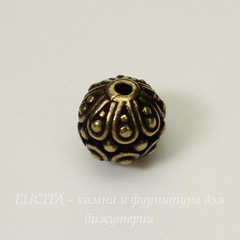 """Бусина - шарик TierraCast """"Casbah"""" 7 мм (цвет-античная латунь)"""