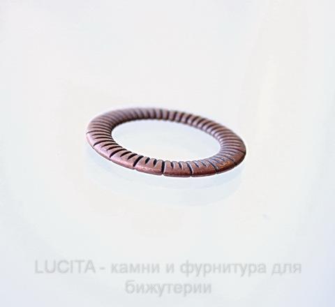 """Коннектор - кольцо """"Полосатое"""" 24 мм (цвет - античная медь)"""
