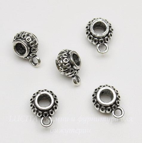 "Бейл ""Фонарик"" 12х8х6 мм (цвет - античное серебро), 5 штук"