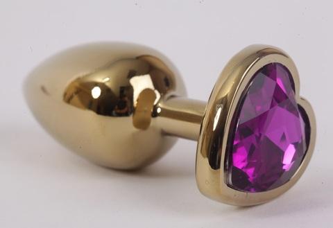 Анальная пробка золото 7,5х2,8см с сердечком фиолетовый страз, сталь