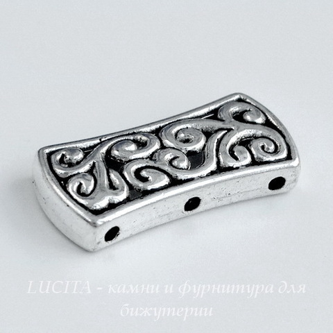 Разделитель на 3 нити 26х12 мм (цвет - античное серебро)
