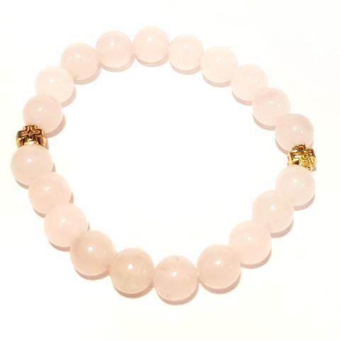 Браслет из натуральных камней: розовый кварц