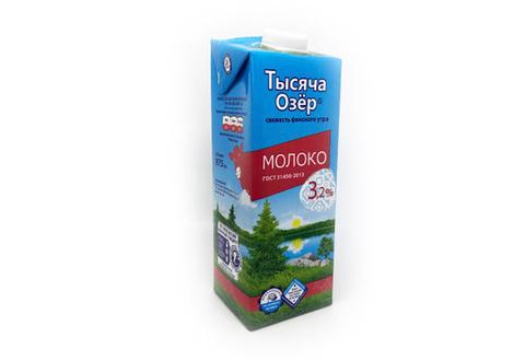 Молоко Тысяча Озёр ультрапастеризованное 3,2%, 975 мл