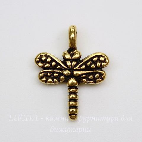 """Подвеска TierraCast """"Стрекоза"""" (цвет-античное золото) 15х12 мм"""