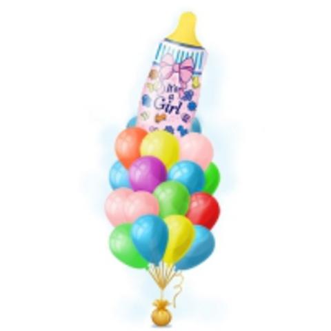 Фонтан из шаров с бутылочкой для девочки