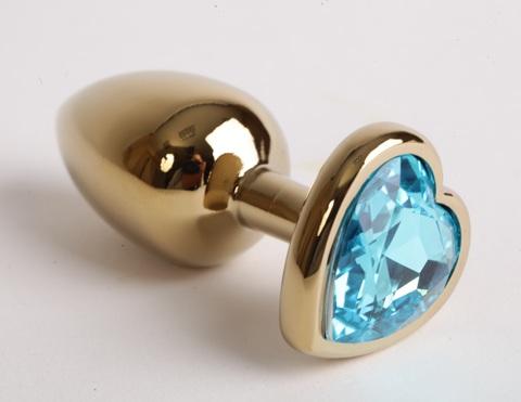 Анальная пробка золото 8х3,5см с сердечком голубой страз, сталь