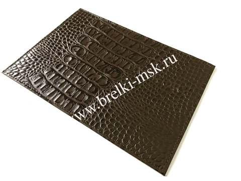 Обложка для паспорта из натуральной кожи крокодила. Цвет Коричневый