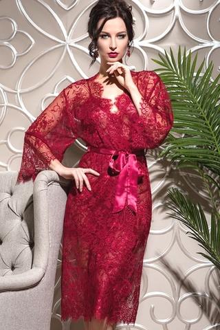 Длинный кружевной халат Chanell (BS) красный