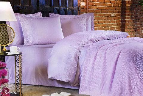 Постельное белье Clarisa лиловый с кружевом deluxe TIVOLYO HOME Турция