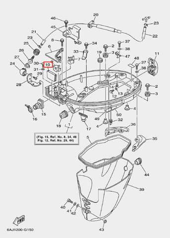Фиксатор троса 2 для лодочного мотора F20 Sea-PRO (15-10)