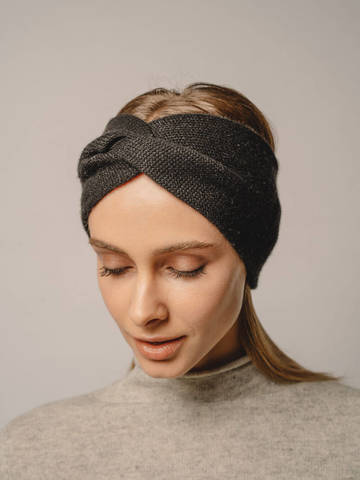 Женская повязка на голову черного цвета из кашемира - фото 2
