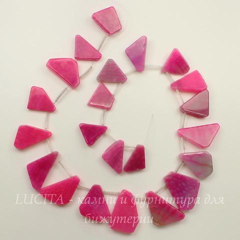 """Бусина Агат """"Крэкл"""" 21-33 мм (тониров), цвет - розовый, нить"""