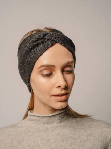 Женская повязка на голову черного цвета из кашемира - фото 1