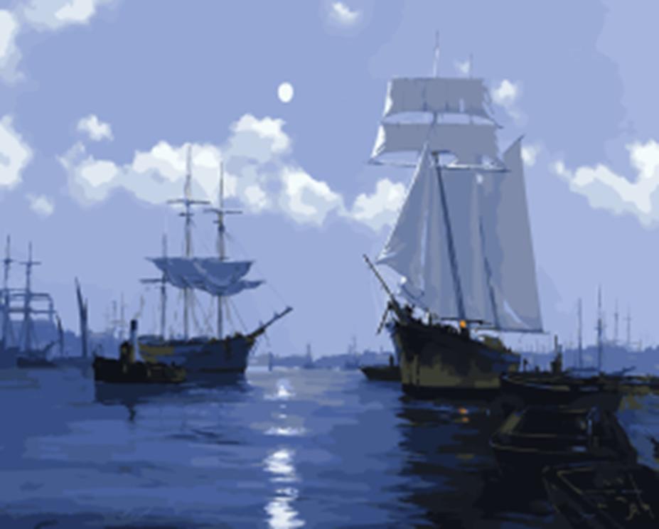 Картина раскраска по номерам 40x50 Корабли в море– купить ...