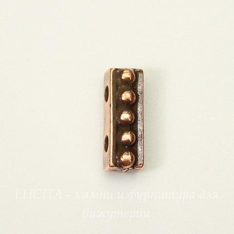 """Разделитель на 2 нити TierraCast """"Бусинки"""" (цвет-античная медь) 11х4 мм"""