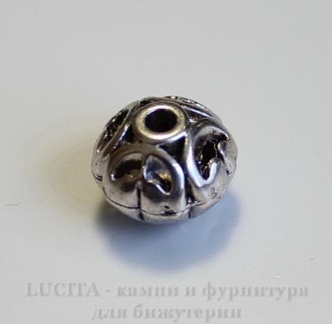 """Бусина металлическая """"Ажурная"""" (цвет - античное серебро) 12х10 мм"""