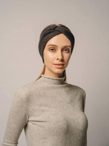 Женская повязка на голову черного цвета из кашемира - фото 4