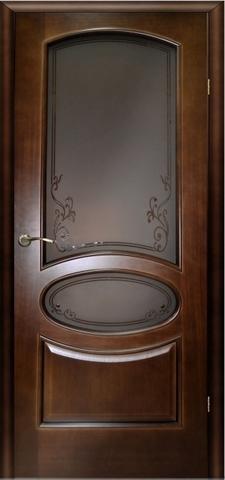 Дверь Атина ПО стекло фьюзинг (тёмный анегри, остекленная шпонированная), фабрика LiGa