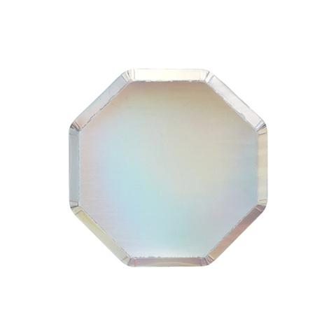Серебряные голографичесиея фольгированные коктейльные тарелки