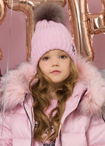 Pelican GKQ3077 Шапка для девочек Инстакот розовая с помпоном