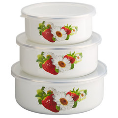 Набор 3 штуки (400 мл, 700 мл, 1000 мл) эмалированных салатников с пластиковыми крышками EM-00003A/59