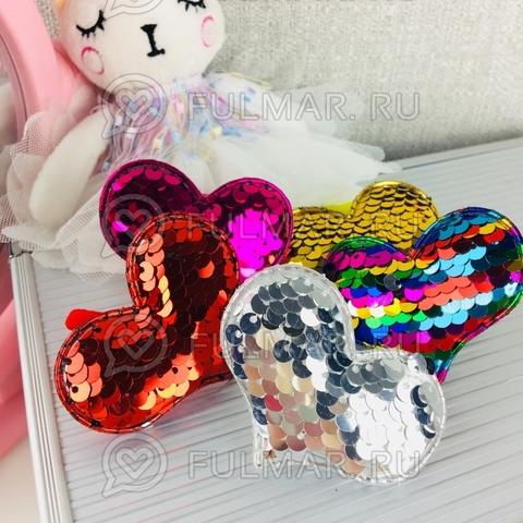 Набор резинки для волос Сердечки с двусторонними пайетками меняют цвет (5 штук)