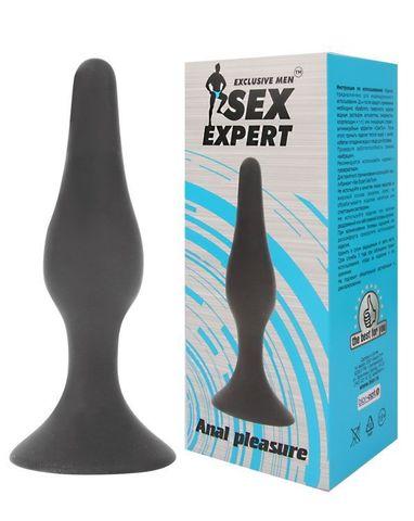 Чёрная анальная пробка Sex Expert - 13 см.