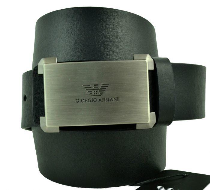 Ремень мужской для джинс чёрный Armani (копия) 40 мм 40brend-KZ-346
