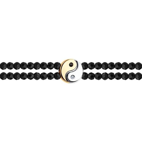 1050119 - Браслет из золота с бесцветными и чёрными бриллиантами