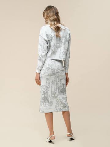 Женская юбка-карандаш с принтом молочного цвета из вискозы - фото 2
