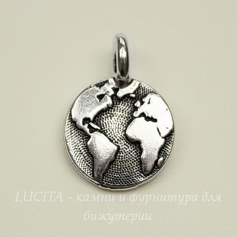"""Подвеска круглая TierraCast """"Земля"""" (цвет-античное серебро) 17х12 мм"""