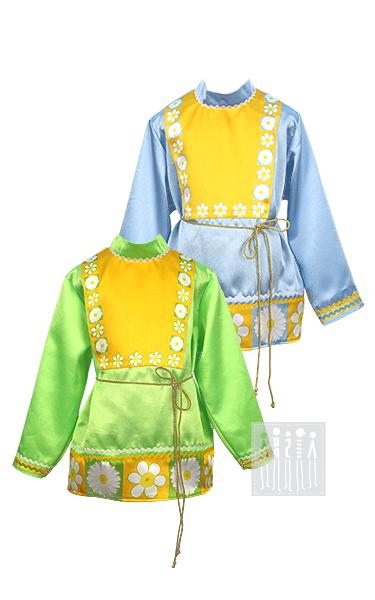 Купить русскую народную рубашку для мальчика от Мастерской Ангел. Выполнена из износостойкого материала - габардина. Рубаха украшена набивным рисунком ромашек.