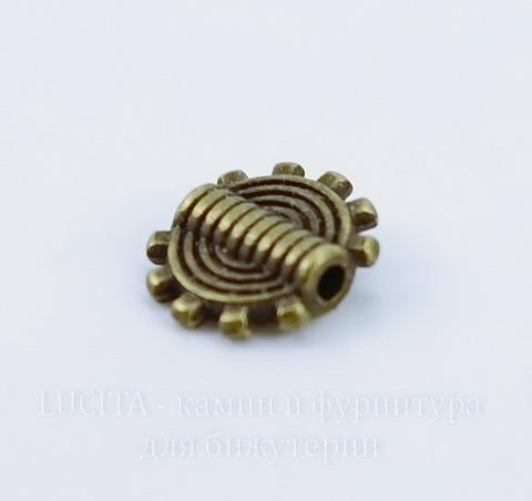 "Бусина металлическая ""Шестеренка"" 10х2 мм (цвет - античная бронза), 10 штук"