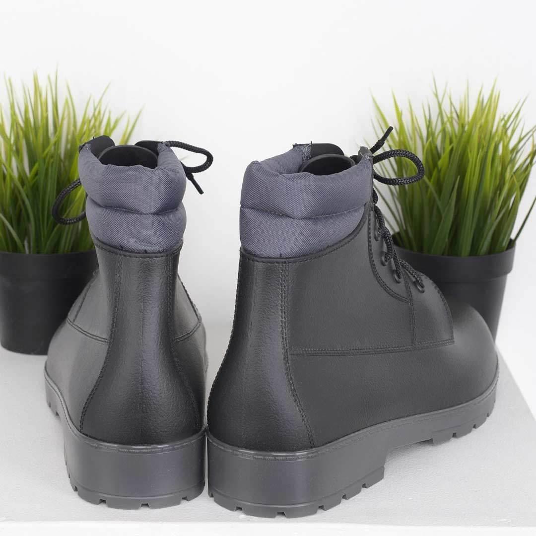 Резиновые ботинки мужские для города Nordman Rover черные с серой подошвой