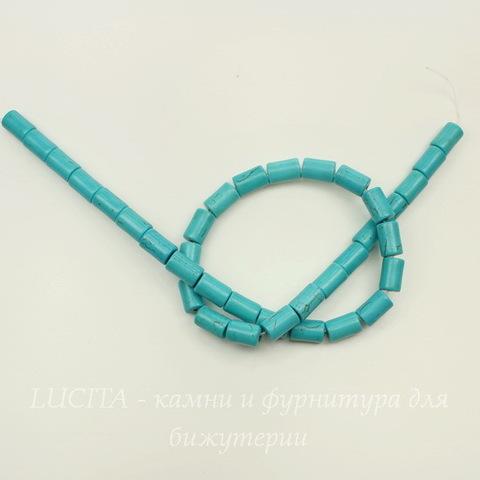 Бусина Говлит (искусств, тониров), трубочка, цвет - бирюзовый, 12х8 мм, нить