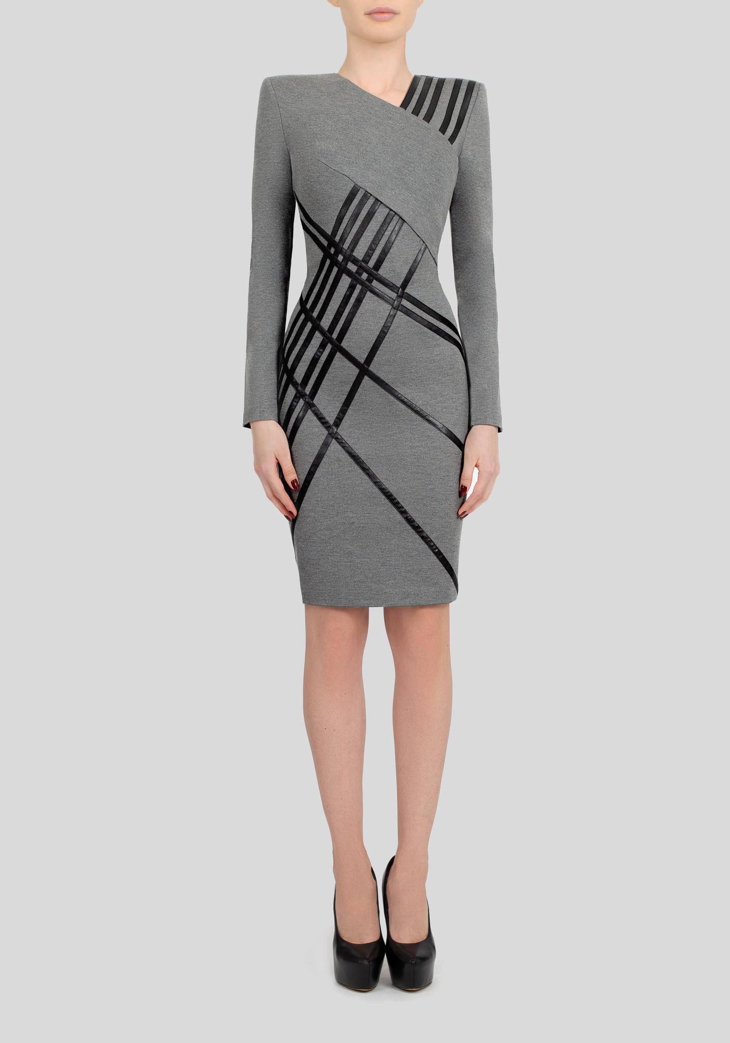 Бандажное платье с кожаными лентами