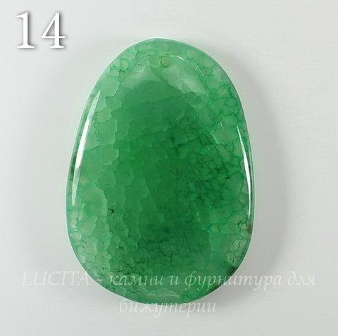 """Подвеска Агат """"Крэкл"""" (тониров), цвет - зеленый (№14 (56х39 мм))"""
