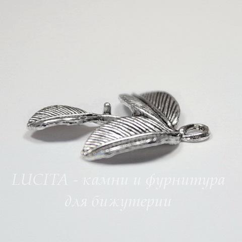 "Подвеска ""Листики"" 27х24 мм (цвет - античное серебро)"