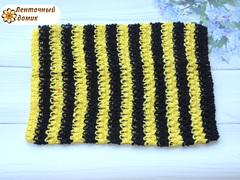 Ажурный топик черно-желтый