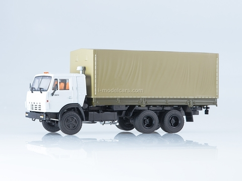 KAMAZ-53212 flatbed truck with awning white-beige 1:43 PAO KAMAZ