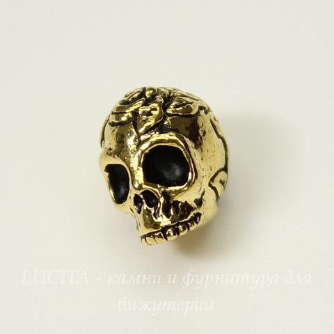"""Бусина TierraCast """"Череп с розой"""" (цвет-античное золото) 10х8 мм"""