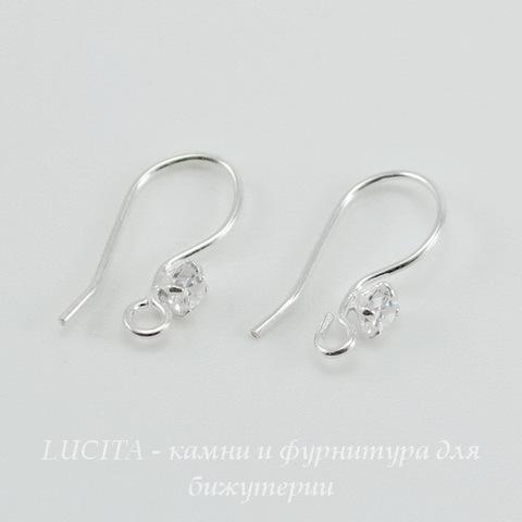 Швензы - крючки с прозрачным стразом (цвет - серебро) 14х7 мм