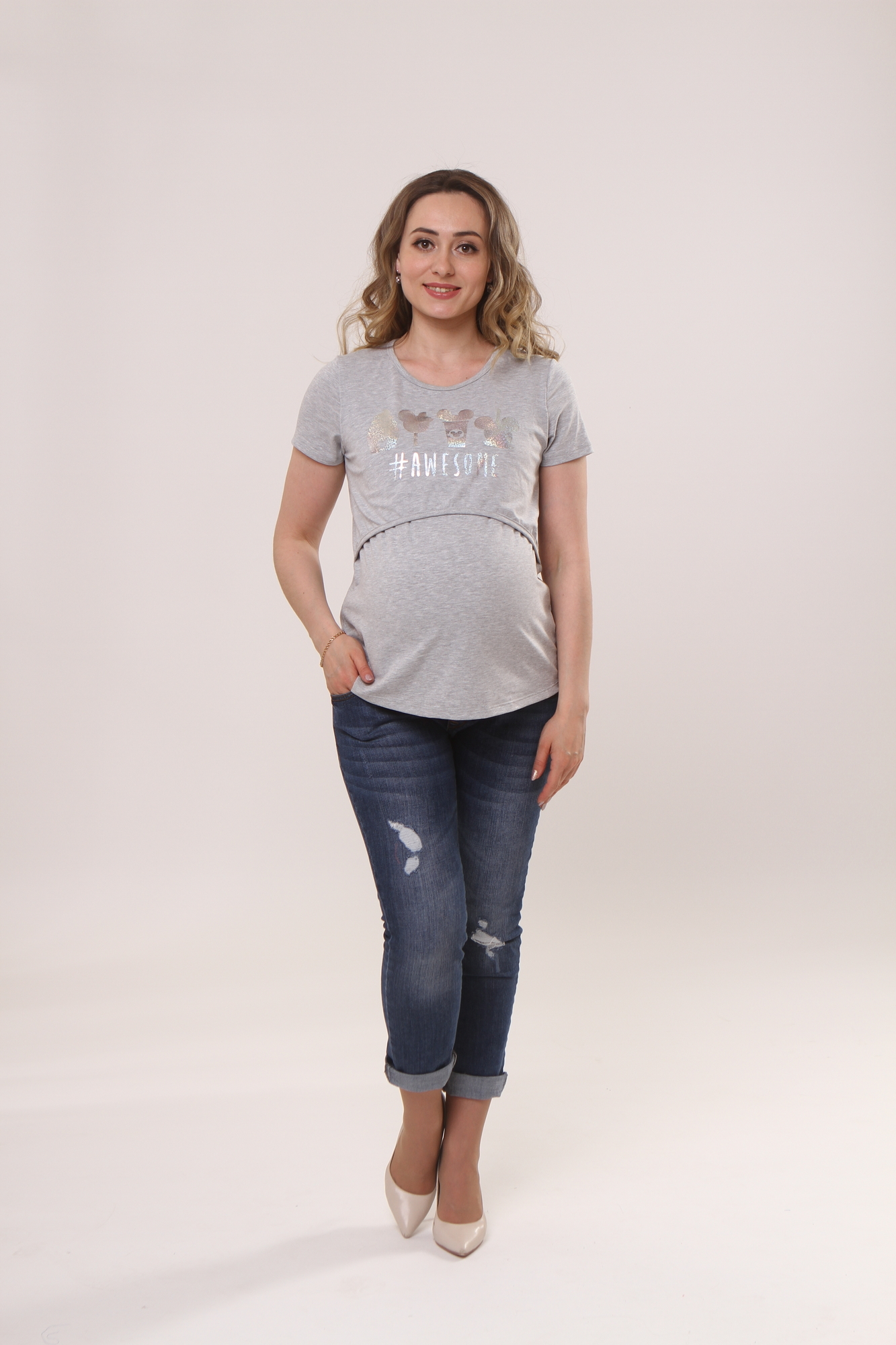 Футболка для беременных и кормящих 10590 серый