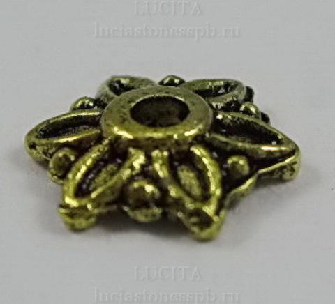 """Шапочка для бусины """"Цветочек"""" (цвет - античное золото) 7х8 мм, 10 штук ()"""