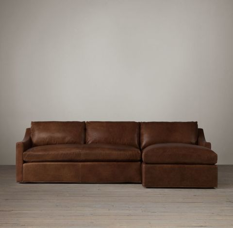 Belgian Classic Slope Arm Leather Right-Arm Sofa Chaise Sectional